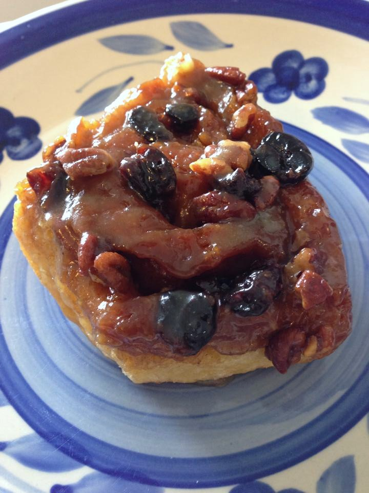 Brioche Sticky Buns with Honey-Caramel, Pecans, and Sour Cherries