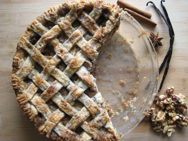 Vanilla spice pear pie in a walnut pastry.